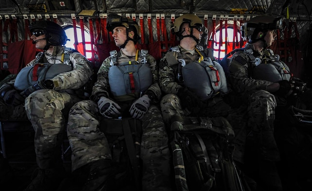 Survival, Evasion, Resistance, and Escape (SERE) specialists sit on a CH-47 Chinook before a static-line jump during Red Flag 17-2 over the Nevada Test and Training Range, Nev., March 7, 2017. Red Flag missions are conducted on the 2.9 million acre Nevada Test and Training Range with 1,900 possible targets, realistic threat systems and opposing enemy forces. (U.S. Air Force photo by Airman 1st Class Kevin Tanenbaum/Released)