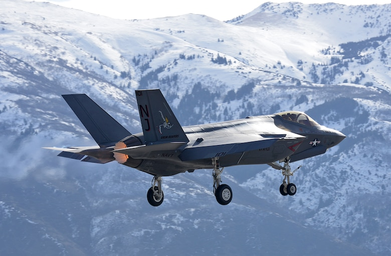 "U.S. Air Force F-35 test pilot, Lt. Col. Kevin ""Sonar"" Hall, departs Hill Air Force Base, Utah, on a functional check flight March 9 in a Navy F-35C Lightning II. (U.S. Air Force Photo by Alex R. Lloyd)"