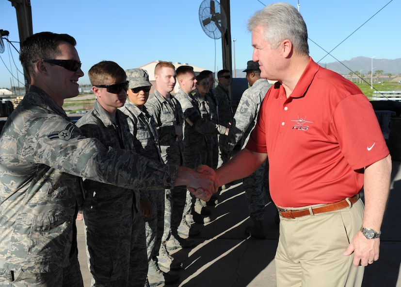 Retired Chief Master Sgt. of the Air Force Gerald Murray greets Airmen upon his arrival to the 56th Equipment Maintenance Squadron March 10, 2017, at Luke Air Force Base, Ariz. Murray visited Luke and interacted with Airmen for the entire day sharing his stories and advice from his 29-year career in the Air Force. (U.S. Air Force photo by Airman 1st Class Caleb Worpel)