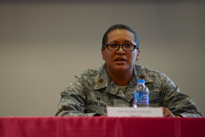 U.S. Air Force Maj. Yalunda Akinloba, 39th Contracting Squadron commander, speaks during Incirlik's International Women's Day lunch and learn event March 8, 2017, at Incirlik Air Base, Turkey. Akinloba shared her challenges and successes as a commander in the Air Force. (U.S. Air Force photo by Airman 1st Class Devin M. Rumbaugh)