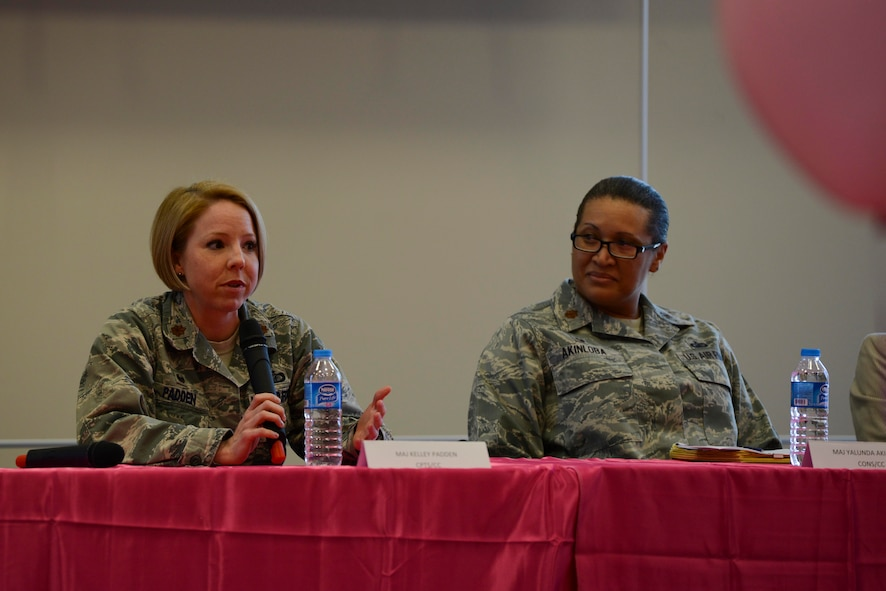 U.S. Air Force Maj. Kelly Padden (left), 39th Comptroller Squadron commander, and Maj. Yalunda Akinloba, 39th Contracting Squadron commander, speak at Incirlik's International Women's Day lunch and learn event March 8, 2017, at Incirlik Air Base, Turkey. Padden and Akinloba answered questions about how they overcame adversity in their careers. (U.S. Air Force photo by Airman 1st Class Devin M. Rumbaugh)