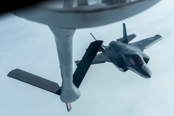 A U.S. Marine Corps F-35B Lightning II from the Marine Fighter Attack Squadron 121, approaches the boom of a KC-135 Stratotanker from the 909th Air Refueling Squadron for an inflight refuel March 14, 2017, over the Pacific Ocean. The 909th ARS provides combat-ready KC-135 tanker aircrews to support peacetime operations and all levels of conflict in the Indo-Asia-Pacific theater. (U.S. Air Force photo by Senior Airman John Linzmeier)
