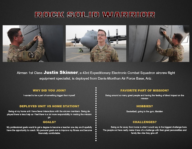 This week's Rock Solid Warrior is Airman 1st Class Justin Skinner, a 43rd Expeditionary Electronic Combat Squadron aircrew flight equipment specialist. Skinner is deployed from Davis-Monthan Air Force Base, Arizona. (U.S. Air Force graphic/Senior Airman Andrew Park)