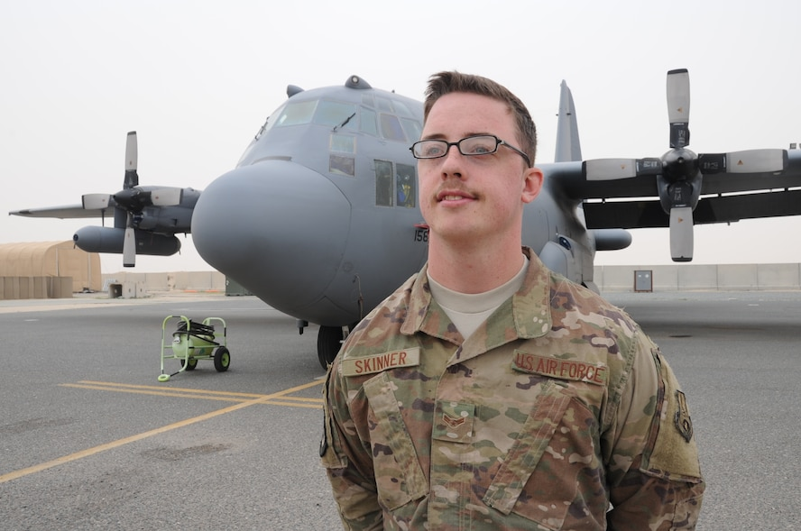This week's Rock Solid Warrior is Airman 1st Class Justin Skinner, a 43rd Expeditionary Electronic Combat Squadron aircrew flight equipment specialist. Skinner is deployed from Davis-Monthan Air Force Base, Arizona. (U.S. Air Force photo/Tech. Sgt. Kenny McCann)