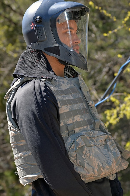 Kyle Anderson of the San Antonio Spurs is fitted out with protective gear during his immersion tour to see what security forces trainees experience during training at Joint Base San Antonio-Camp Bullis March 14.