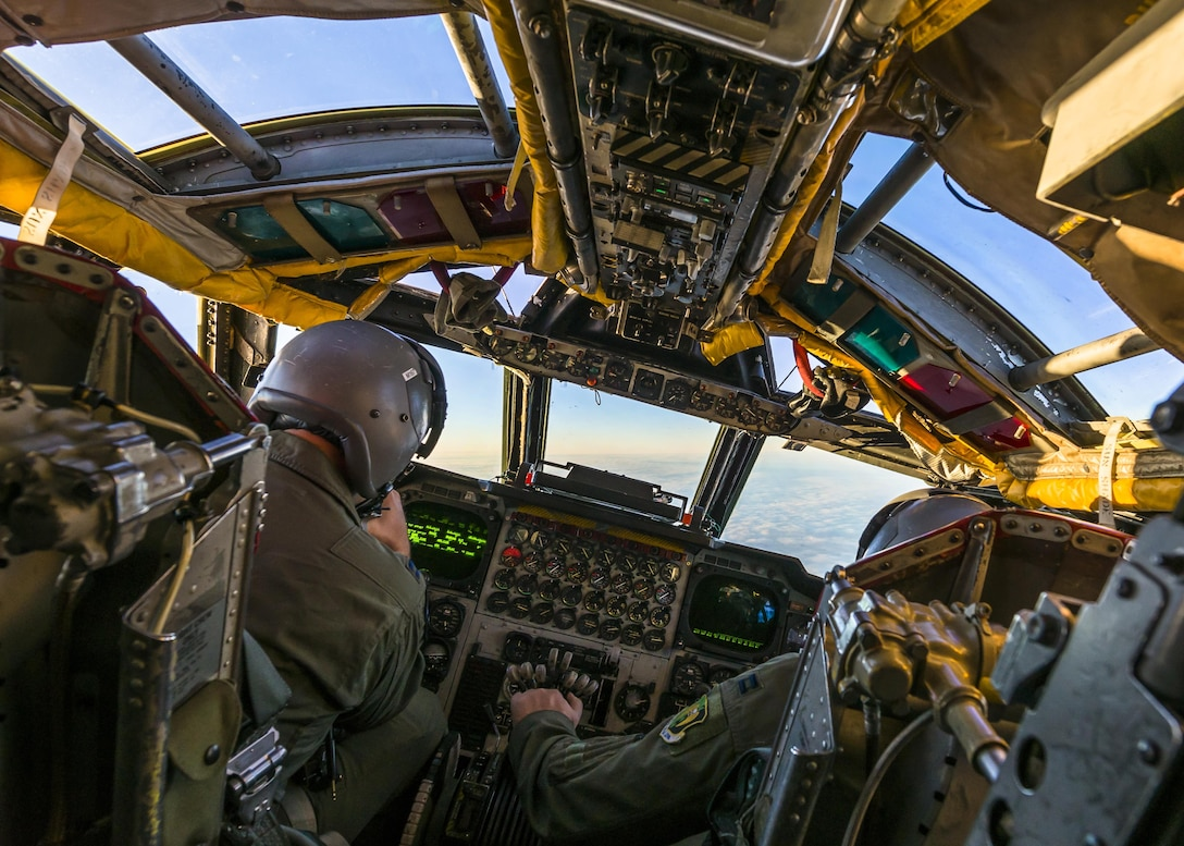 A B-52H Stratofortress banks to the right, in airspace above North Dakota, Jan. 31, 2017.  During the mission, the crew ran simulated close air support scenarios, helping them better communicate and work together as a team. (U.S. Air Force photo/Senior Airman J.T. Armstrong)