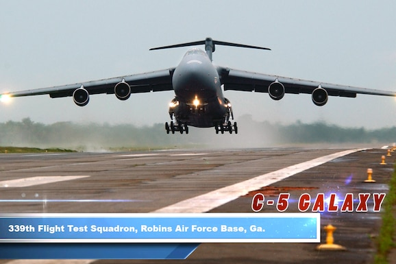 The C-5 Galaxy is one of the largest aircraft in the world and the largest airlifter in the Air Force inventory. The aircraft can carry a fully equipped combat-ready military unit to any point in the world on short notice and then provide the supplies required to help sustain the fighting force.