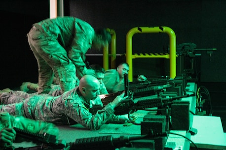 U.S. Army Reserve Sgt. 1st Class Wesley Beck, 560th Movement Control Team, 79th Sustainment Support Command, practices gunnery validation tables on the engagement skills trainer during Operation Cold Steel at Fort McCoy, Wis., March 12, 2017. Operation Cold Steel is the U.S. Army Reserve's crew-served weapons qualification and validation exercise to ensure that America's Army Reserve units and soldiers are trained and ready to deploy on short-notice and bring combat-ready and lethal firepower in support of the Army and our joint partners anywhere in the world. (U.S. Army Reserve photo by Staff Sgt. Debralee Best, 84th Training Command)