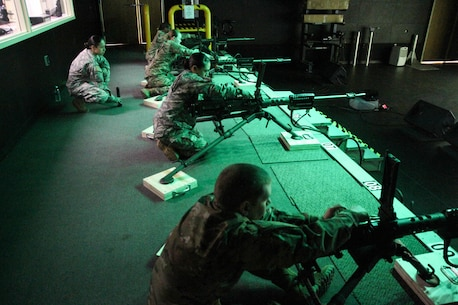 U.S. Army Reserve Soldiers with U.S. Army Civil Affairs and Psychological Operations Command, Army Reserve Aviation Command and 79th Sustainment Support Command, practice gunnery validation tables on the engagement skills trainer during Operation Cold Steel at Fort McCoy, Wis., March 12, 2017. Operation Cold Steel is the U.S. Army Reserve's crew-served weapons qualification and validation exercise to ensure that America's Army Reserve units and soldiers are trained and ready to deploy on short-notice and bring combat-ready and lethal firepower in support of the Army and our joint partners anywhere in the world. (U.S. Army Reserve photo by Staff Sgt. Debralee Best, 84th Training Command)