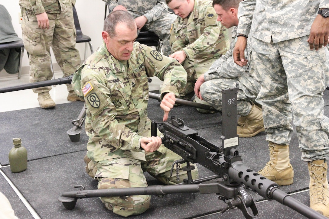 U.S. Army Reserve Sgt. 1st Class Greg Doolin, 620th Combat Sustainment Support Battalion, 79th Sustainment Support Command, performs a functions check on the M2 machine gun while participating in preliminary marksmanship training during Operation Cold Steel at Fort McCoy, Wis., March 12, 2017. Operation Cold Steel is the U.S. Army Reserve's crew-served weapons qualification and validation exercise to ensure that America's Army Reserve units and soldiers are trained and ready to deploy on short-notice and bring combat-ready and lethal firepower in support of the Army and our joint partners anywhere in the world. (U.S. Army Reserve photo by Staff Sgt. Debralee Best, 84th Training Command)