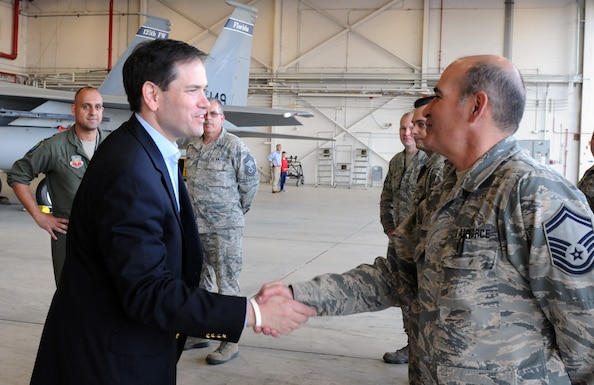 The 125th Fighter Wing (125FW) hosted Senator Marco Rubio for a base tour and mission brief on Friday, March 10, 2017. Senator Rubio met the Wing Command Staff, learned about the various missions of the 125FW, viewed an F-15 static display, and received an update on F-35A basing.