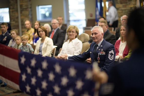 The retirement flag is folded for Chief Master Sgt. Tom Kimball Feb. 17, 2017 at Buckley Air Force Base, Co. The formal flag folding is a, Air Force tradition. (U.S. Air Force Photo/Tech. Sgt. David Salanitri)