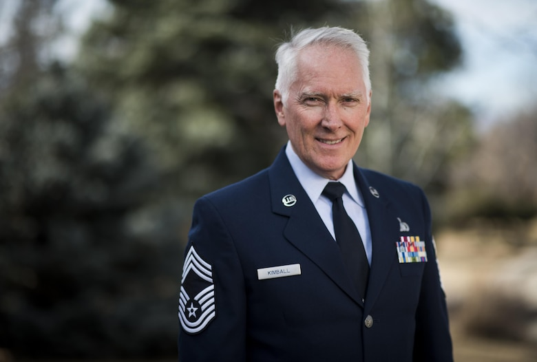 Chief Master Sgt. Tom Kimball retired from the Air Force Feb. 17, 2017 at Buckley Air Force Base, Co. Kimball served more than 24 years in the Air Force. (U.S. Air Force Photo/Tech. Sgt. David Salanitri)