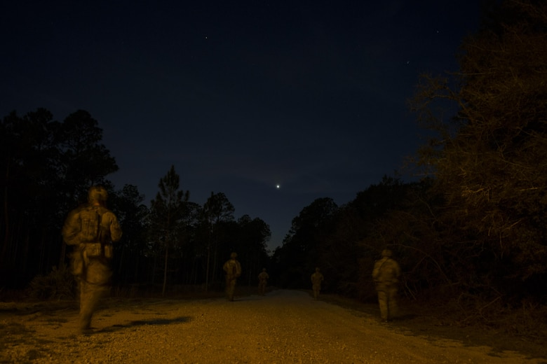 Explosive ordinance disposal Air Commandos with the 1st Special Operations Civil Engineer Squadron conduct explosive ordnance cache training at Eglin Range, Fla., March 9, 2017. During the training, EOD Airmen cleared more than a mile of roadways and disabled simulated caches of explosive ordnance. Explosive ordnance cache training is conducted quarterly to ensure EOD Air Commandos are ready to execute operations. (U.S. Air Force photo by Airman 1st Class Joseph Pick)