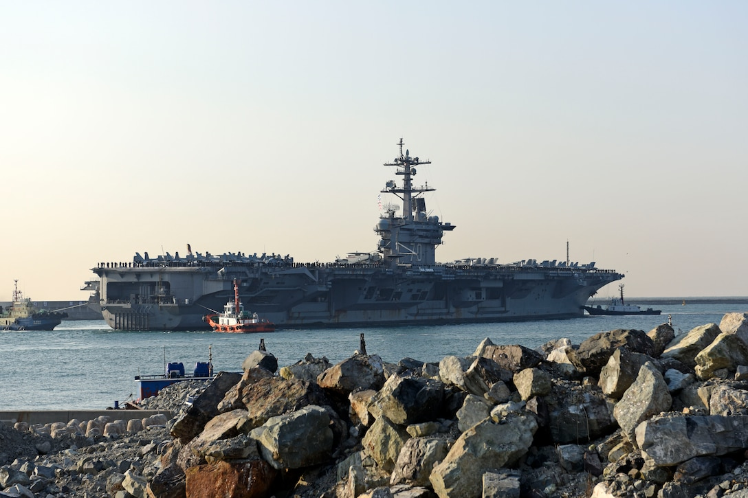 The aircraft carrier USS Carl Vinson arrives at South Korean fleet headquarters in Busan, South Korea, for a scheduled port visit, March 15, 2017. The Carl Vinson Strike Group was wrapping up two weeks of routine operations in the South China Sea and was scheduled to continue on its regularly scheduled Western Pacific deployment after departing Busan. Navy photo by Petty Officer 2nd Class Jermaine M. Ralliford