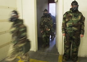 Marines walk into a gas chamber at Camp Lejeune, N.C. March 14, 2017. 2nd Supply Battalion conducted gas chamber training to ensure that Marines are capable of defending themselves in case of a chemical, biological, radiological or nuclear attack. (U.S. Marine Corps photo by Lance Cpl. Raul Torres)