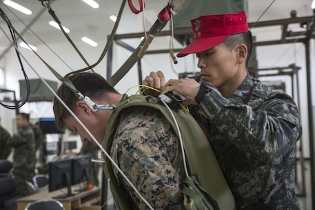 Republic of Korea Marine Corps Master Sgt. Yonhwan Shin helps strap in U.S. Marine Cpl. Justin Morrall to a canopy flight simulator, which allows the Marines to practice steering a parachute canopy, on March 14, 2017, near Camp Mujuk, Republic of Korea. The relationship between ROK and U.S. Marines encompasses the strategic, operational and tactical levels of training. Shin is with 1st Marine Division Parachute Operations Battalion. Morrall, a Denver, Colorado native, is a squad automatic weapon gunner with 3rd Reconnaissance Battalion, 3rd Marine Division, III Marine Expeditionary Force. (U.S. Marine Corps photo by Lance Cpl. Bernadette Wildes)