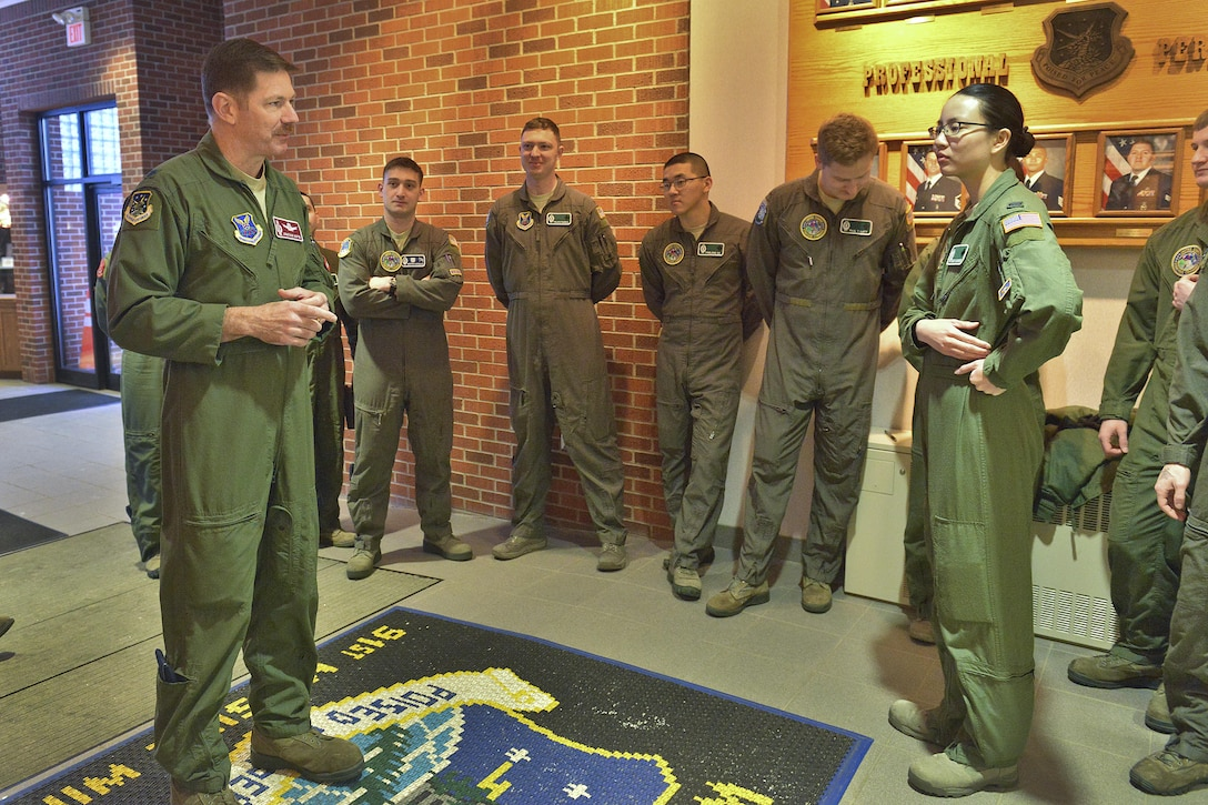 Lt. Col. Jonathan Austin, 91st Operations Group deputy commander, speaks with missile operators at Minot Air Force Base, N.D., March 15, 2017. On March 6, a winter storm caused 91st Missile Wing Intercontinental Ballistic Missile operators to stay an extra night until a crew could safely replace them. (U.S. Air Force photo/Airman 1st Class Jessica Weissman)