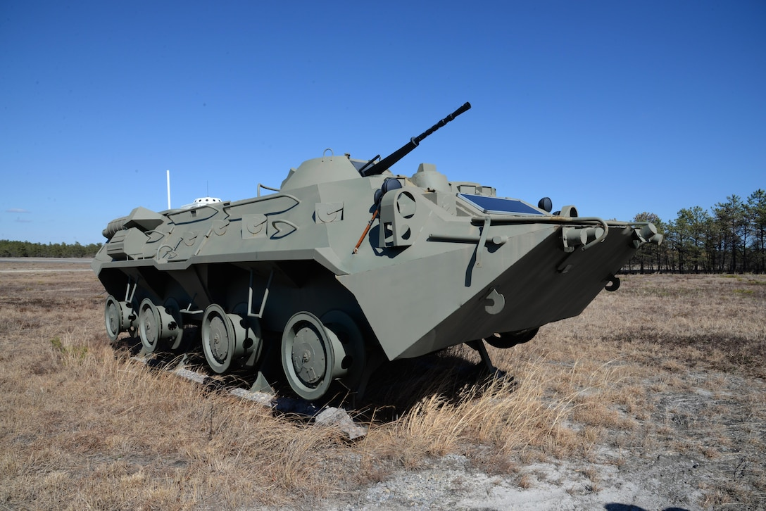 """A BTR-90 personnel carrier, """"no drop"""" surrogate target, acquired with National Guard and Reserve Equipment Appropriations funding sits at the 177th Fighter Wing Det. 1 - Warren Grove Bombing Range in Ocean County, N.J. on Mar. 2, 2017. (U.S. Air National Guard photo by Master Sgt. Andrew J. Moseley/Released)"""