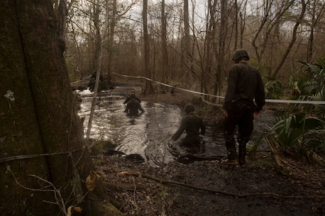 Marines tread through waist-high water during an endurance course at the Battle Skills Training School on Camp Lejeune, N.C., March. 10, 2017. The course is designed to improve and test Marines on their ability to work together through the challenging obstacles.  The Marines are with 8th Engineer Support Battalion. (U.S. Marine Corps photo by Pfc. Abrey Liggins)
