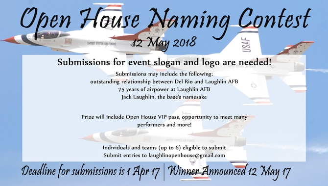 Laughlin's Open House and Air Show committee is requesting logo and slogan submission for next year's event.