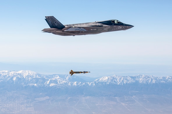 U.S. Marine Corps Maj. Aaron Frey, 461st Flight Test Squadron, pilots an F-35B Lightning II and releases a United Kingdom Paveway IV inert bomb March 1 over Edwards AFB's Precision Impact Range Area. The Marine Corps' F-35B is the short takeoff/vertical landing variant of the Joint Strike Fighter, which will also be used by the Royal Air Force. (Photo by Darin Russell/Lockheed Martin)