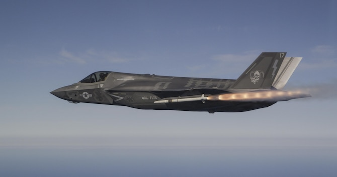An F-35B Lightning II from the 461st Flight Test Squadron fires a United Kingdom-built AIM-132 ASRAAM (advanced short range air-to-air missile) over the Point Mugu Sea Test Range in California Feb. 24. (Photo by Chad Bellay/Lockheed Martin)