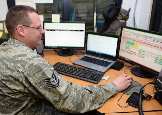 Tech. Sgt. James McCurdy, the phase section monitor assigned to the 28th Maintenance Squadron, looks through his inspection schedule during an 800 flight hour inspection at Ellsworth Air Force Base, S.D., March 8, 2017. During the inspection process, McCurdy is responsible for tracking the scheduled maintenance while establishing Airmen to their respective areas to work on. (U.S. Air Force photo by Airman 1st Class Denise M. Jenson)