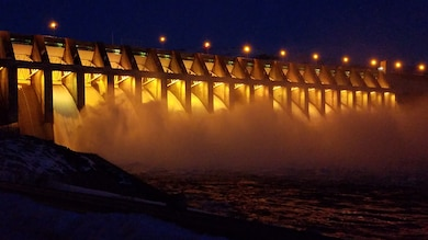Water flows through the spillways at Chief Joseph Dam, Feb. 20, 2017.  The outflow that evening was 24 kfcs. Chief Joseph Dam is the second largest hydropower producing dam in the United States. It is the largest hydropower producing dam operated by the US Army Corps of Engineers. (Photo by Capt. Chandler Alford)