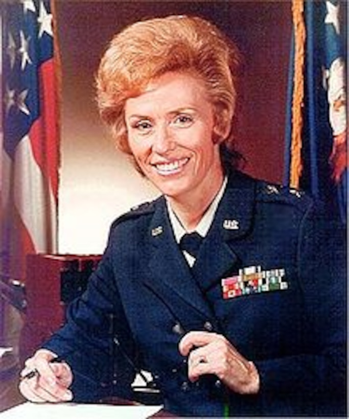 Maj. Gen. Jeanne Holm, former director of the Secretary of the Air Force Personnel Council, was promoted to brigadier general on July 16, 1971, and was the first woman to be appointed in this grade in the Air Force. Holm was also promoted to major general on June, 1, 1973, and was the first women in the Armed Forces to serve in that grade. (U.S. Air Force photo)
