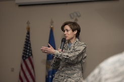 "Lt. Gen. Gina Grosso, U.S. Air Force Manpower, Personnel and Services deputy chief of staff, speaks to Team Andrews members at the Women's History Luncheon at The Club at Andrews on Joint Base Andrews, Md., March 10, 2017. During the event, Grosso spoke on this year's topic ""Honoring Trailblazing Women in Business and Labor,"" as well as the importance of diversity and service."