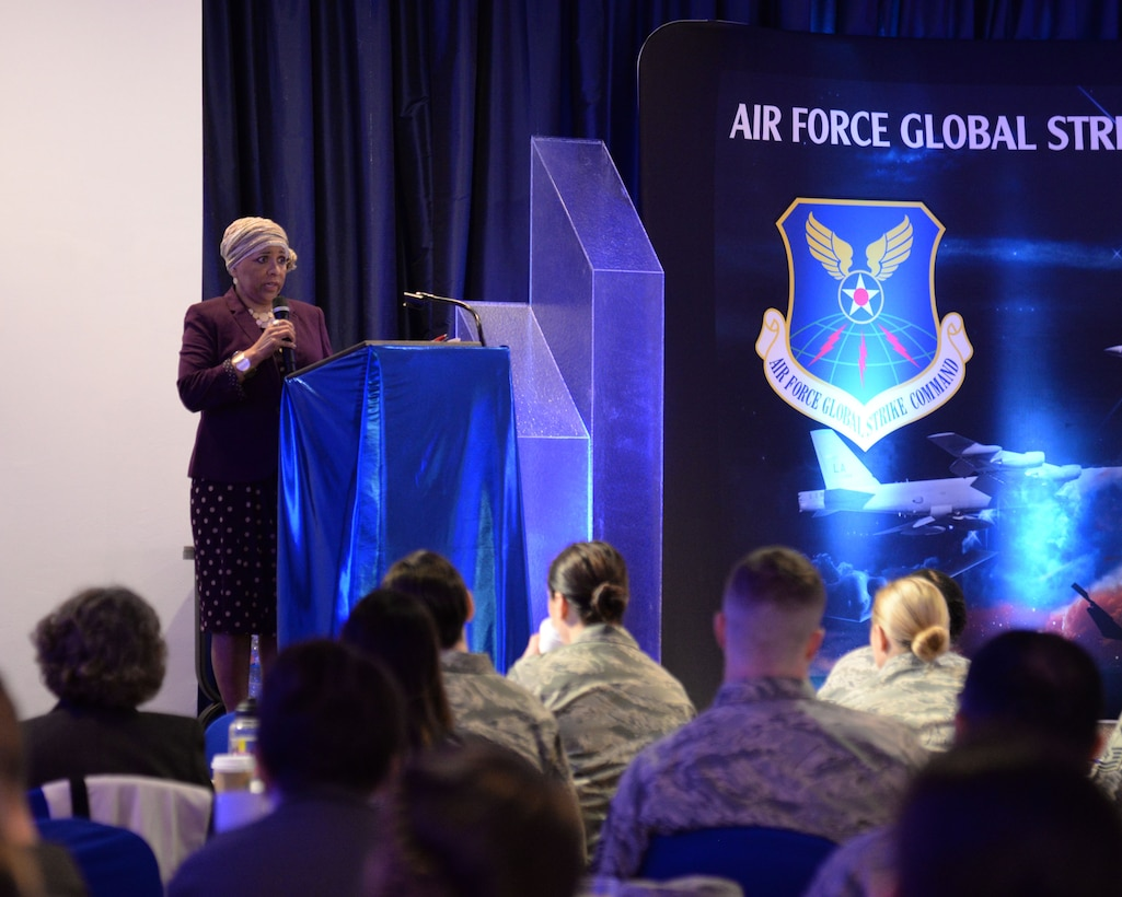 Elizabeth Melahn, 2nd Medical Group wounded warrior advocate, speaks about diversity at the Women's Leadership Symposium on Barksdale Air Force Base, La., March 14, 2017. During the symposium, Milan told her story of overcoming racial adversity during her childhood, and how the military's concept of diversity and equality have evolved over more than 20 years. (U.S. Air Force photo/Staff Sgt. Benjamin Raughton)