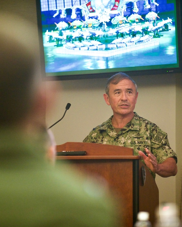 U.S. Navy Adm. Harry Harris, U.S. Pacific Command commander, gives his closing remarks during the Pacific F-35 Symposium at Joint Base Pearl Harbor-Hickam, Hawaii, March 15, 2017. The symposium is a Pacific Air Forces-hosted event that brings together the four Pacific members of the F-35 program: Japan, Australia, the Republic of Korea and the U.S. While attending the event, senior officers, warfighters and F-35 experts discussed a range of topics related to integrating the F-35 into multilateral air operations in the Indo-Asia-Pacific. The U.S. currently flies the F-35B out of Marine Corps Air Station Iwakuni, Japan, and is scheduled to field two additional squadrons at Eielson AFB, Alaska, starting in 2020. Australia and Japan are already flying their own F-35s and the ROK is projected to receive its first in 2018. (U.S. Air Force photo by Tech. Sgt. James Stewart)