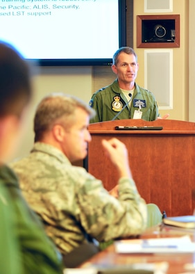 Royal Australian Air Force Air Cdre Robert Chipman, General Planning Capability director, gives a country briefing during the Pacific F-35 Symposium at Joint Base Pearl Harbor-Hickam, Hawaii, March 15, 2017. The symposium is a Pacific Air Forces-hosted event that brings together the four Pacific members of the F-35 program: Japan, Australia, the Republic of Korea and the U.S. While attending the event, senior officers, warfighters and F-35 experts discussed a range of topics related to integrating the F-35 into multilateral air operations in the Indo-Asia-Pacific. The U.S. currently flies the F-35B out of Marine Corps Air Station Iwakuni, Japan, and is scheduled to field two additional squadrons at Eielson AFB, Alaska, starting in 2020. Australia and Japan are already flying their own F-35s and the ROK is projected to receive its first in 2018. (U.S. Air Force photo by Master Sgt. George Maddon)