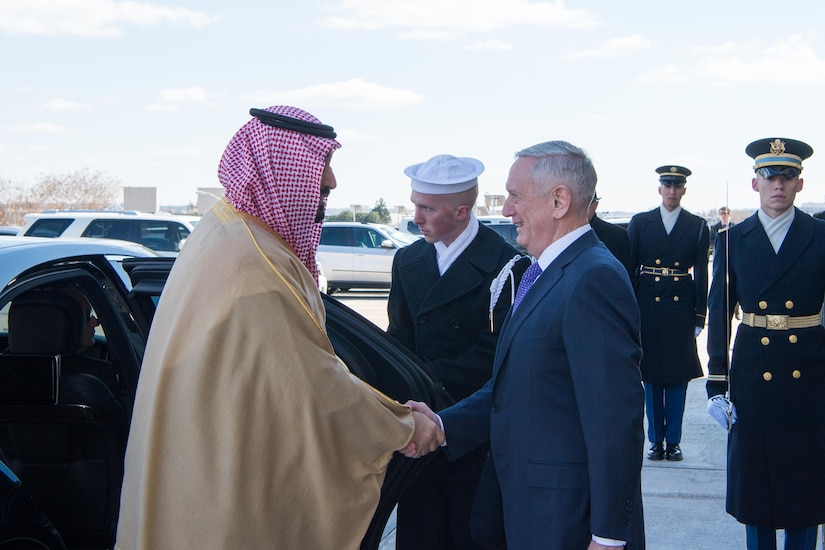 Defense Secretary Jim Mattis welcomes Saudi Deputy Crown Prince and Defense Minister Mohammed bin Salman to the Pentagon, March 16, 2017. DoD photo by Sgt. Amber I. Smith