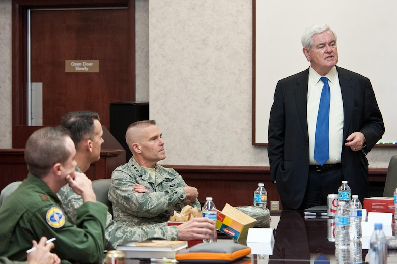 Newt Gingrich, 50th Speaker of the U.S. House of Representatives, engages with students of the Blue Horizons and School of Advanced Air and Space Studies, March 16, 2017. Gingrich's visit is part of Air University's forums designed to foster two-way communication between students learning from experiences in D.C. and his learning about AU research topics like Air Force space initiatives.  (US Air Force photo by Melanie Rodgers Cox/Released)