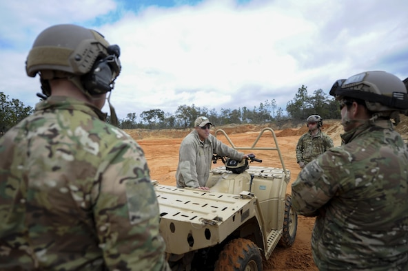 An instructor with the 1st Special Operations Support Squadron Operational Support Joint Office, briefs a team of Soldiers on various all-terrain vehicle operations at Buck Pond in Navarre, Fla., March 14, 2017. The 1st SOSS/OSJ instructor taught a team from the 1st Battalion, 10th Special Forces Group, how to safely turn by adjusting body weight, how to stop properly and how to safely climb a hill. (U.S. Air Force photo by Airman 1st Class Dennis Spain)