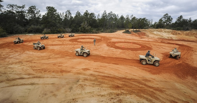 Soldiers with the 1st Battalion, 10th Special Forces Group, partnered with the 1st Special Operations Support Squadron Operational Support Joint Office to learn all-terrain vehicle techniques at Buck Pond in Navarre, Fla., March 14, 2017. The 1st SOSS/OSJ facilitates special operations forces training to ensure global readiness. (U.S. Air Force photo by Airman 1st Class Dennis Spain)