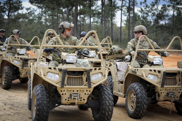 Soldiers with the 1st Battalion, 10th Special Forces Group, roll-out to begin training for all-terrain vehicle operation qualification at Buck Pond in Navarre, Fla., March 14, 2017. The 1st Special Operations Support Squadron Operational Support Joint Office facilitates special operations forces training to ensure global readiness. (U.S. Air Force photo by Airman 1st Class Dennis Spain)