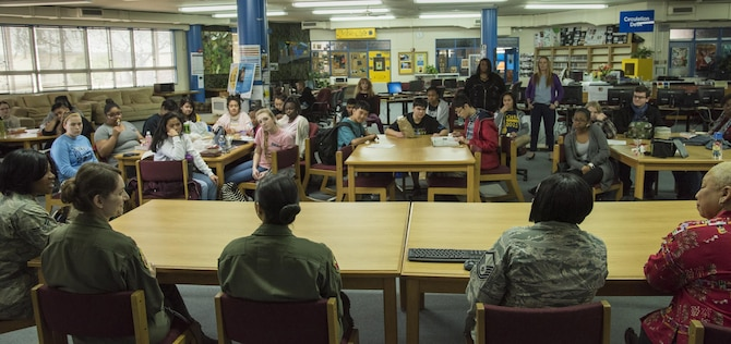 Panel speakers answer questions from students at Yokota High School during the Q-and-A panel held as part of the Women's History Month at Yokota Air Base, Japan, March 15, 2017. The Q-and-A panel was held not only at the high school, but also at the middle school and the elementary schools on base. (U.S. Air Force photo by Machiko Arita)