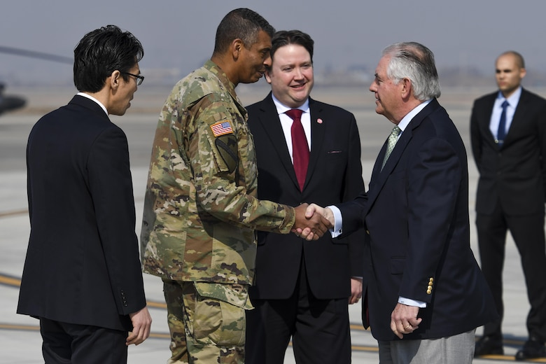 U.S. Secretary of State Rex Tillerson greets U.S. Army Gen. Vincent K. Brooks, United States Forces Korea commander, at Osan Air Base, Republic of Korea, March 17, 2017. Korea is one of three countries Tillerson is visiting during his first trip to the Pacific region as secretary of state, reiterating the United States' continued strong support of the U.S. - Korean alliance. (U.S. Air Force photo by Staff Sgt. Victor J. Caputo)