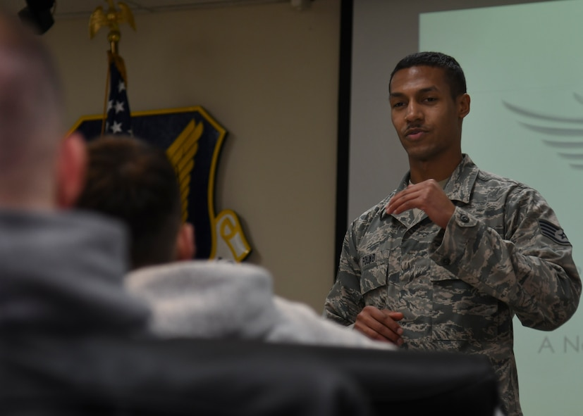 U.S. Air Force Staff Sgt. Youseff Fouad, 51st Operation Support Squadron executive assistant, participates in a discussion during an Airpower Leadership Academy course at Osan Air Base, Republic of Korea, March 15, 2017. The class creates an open forum for students to discuss various topics amongst each other with the presence of senior NCOs to guide the conversation. (U.S. Air Force photo by Airman 1st Class Gwendalyn Smith)