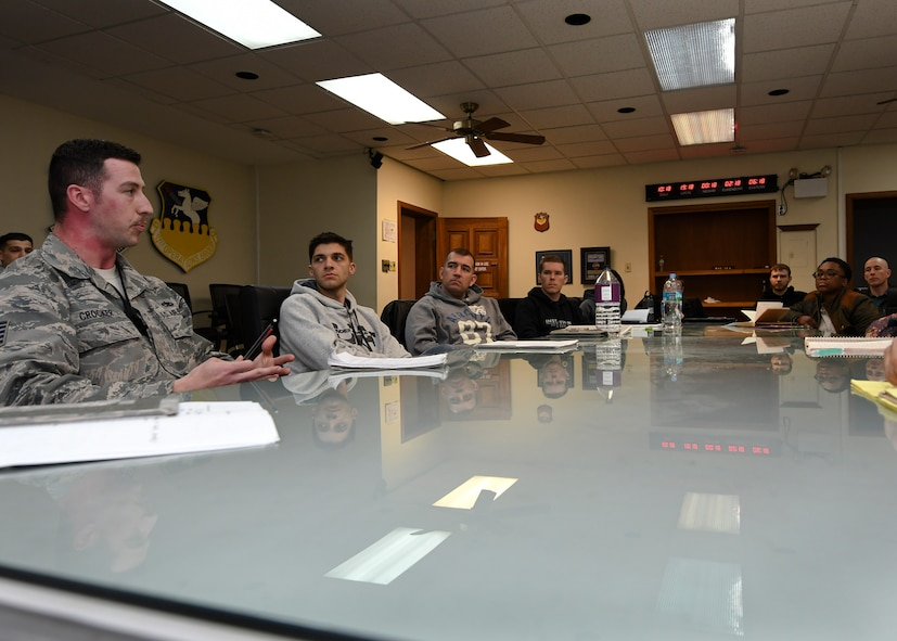 U.S. Air Force Tech. Sgt. Jonathan Crocker, 51st Aircraft Maintenance Squadron flightline expediter, participates in a discussion during an Airpower Leadership Academy course at Osan Air Base, Republic of Korea, March 15, 2017. Because of the discussion aspect of the class, students are able to have frank discussions about situations they've encountered, and find alternative perspectives and solutions. (U.S. Air Force photo by Airman 1st Class Gwendalyn Smith)