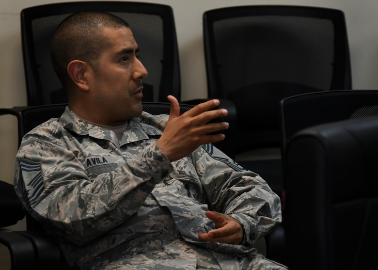 U.S. Air Force Chief Master Sgt. Emilio Avila, 51st Operations Group superintendent, guides a discussion during an Airpower Leadership Academy course at Osan Air Base, Republic of Korea, March 15, 2017. The class creates an open forum for students to discuss various topics amongst each other with the presence of senior non-commissioned officers to guide the conversation. (U.S. Air Force photo by Airman 1st Class Gwendalyn Smith)