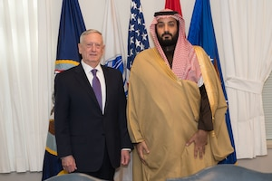 Defense Secretary Jim Mattis stands with Saudi Deputy Crown Prince and Defense Minister Mohammad bin Salman before a meeting at the Pentagon, March 16, 2017. DoD photo by Sgt. Amber I. Smith