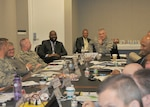Air Force Col. Stephen Petters (at head of table) leads the working-level discussion at the DLA Internal Nuclear Enterprise summit March 8, 2017.