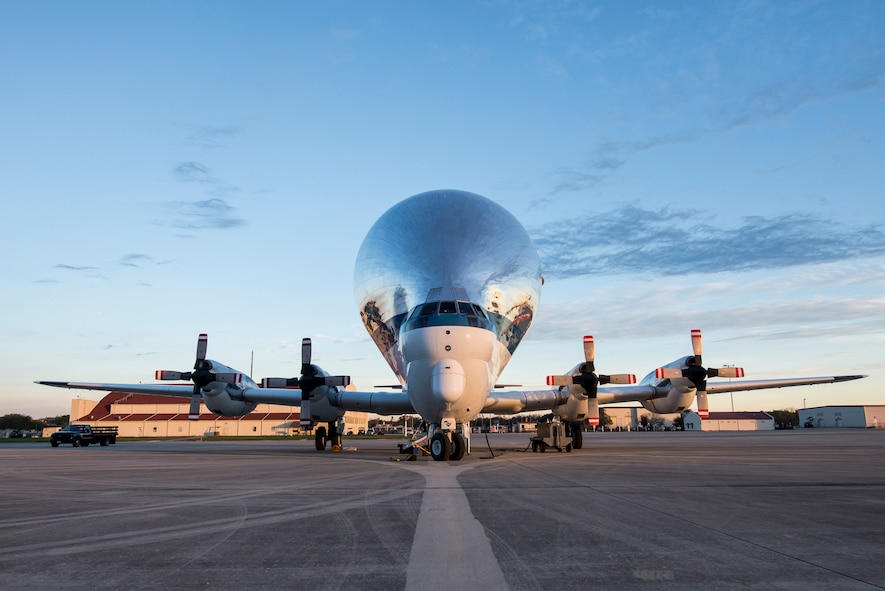 An Aero Spacelines B-377 Super Guppy sits on the flightline at Joint Base San Antonio-Randolph, Texas, March 3, 2017. The Super Guppy, operated by NASA, has a cargo space that is 25 feet in diameter and 111 feet long. (U.S. Air Force photo/Senior Airman Stormy Archer)