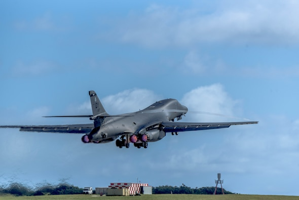 A B-1B Lancer, assigned to the 9th Expeditionary Bomb Squadron and deployed from Dyess Air Force Base, Texas, takes off March 10, 2017, at Andersen AFB, Guam. The B-1B's are deployed to Andersen AFB as part of U.S. Pacific Command's continuous bomber presence operations. This forward deployed presence demonstrates continuing U.S. commitment to stability and security in the Indo-Asia-Pacific region. Most importantly, the bomber rotations provide Pacific Air Forces and PACOM commanders an extended deterrence capability. (U.S. Air Force photo/Airman 1st Class Jacob Skovo)