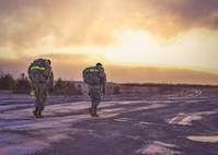 Two U.S. Army soldiers participate in the final leg of the German Armed Forces Badge for military Proficiency (GAFBP) competition in Ft. Drum, N.Y. on Saturday, March 11, 2017. Temperatures hovered around zero degrees Fahrenheit during the all-day event. (U.S. Air Force photo by Staff Sgt. Richard Mekkri)