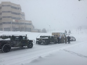 During the height of Winter Storm Stella, Pennsylvania National Guard members assisted the Pennsylvania State Police, Pennsylvania Department of Transportation and local first responders in the transporting of a 23-month-old baby in need of an emergency medical procedure from Mt. Pocono Medical Center in East Stroudsburg to Geisinger Children's Hospital in Danville March 14, 2017.